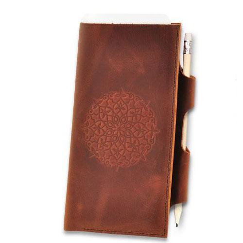 Холдер для документов из натуральной кожи с тиснением Blank Note Коньяк с мандалой