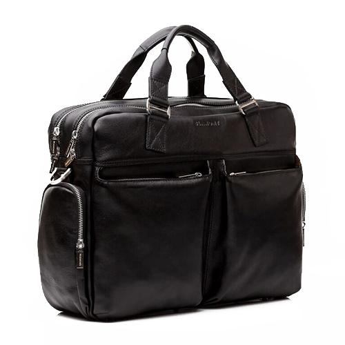 Бизнес сумка мужская кожаная Blamont черная