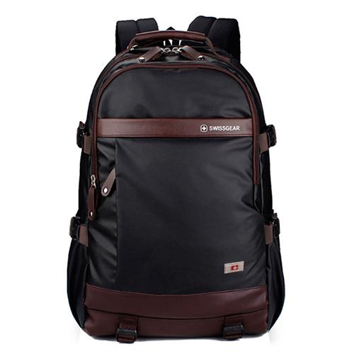 Стильный рюкзак SwissGear черный с коричневым 32 литра