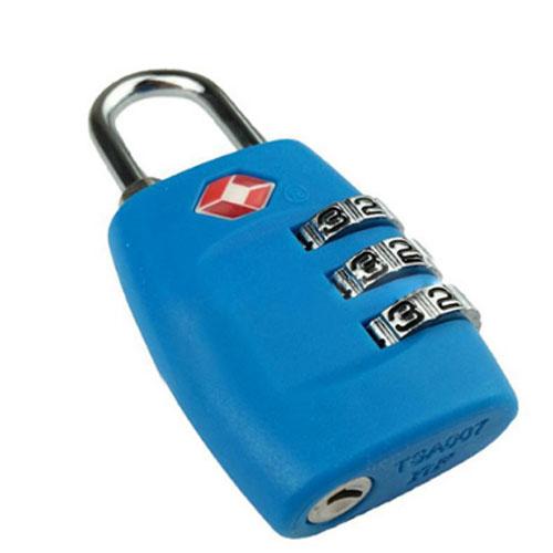 Кодовый навесной замок для чемодана TSA голубой