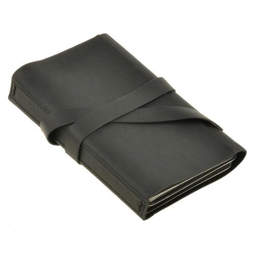 """Кожаный блокнот софт-бук БланкНот """"Панда: черно-белые зарисовки"""" с черными листами"""