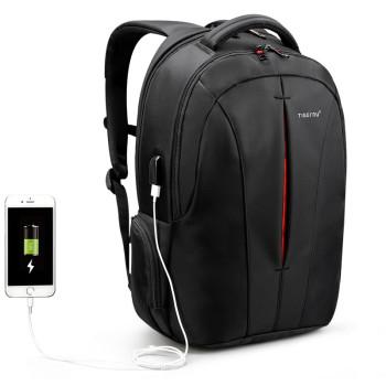 Городской рюкзак черного цвета с оранжевим class=