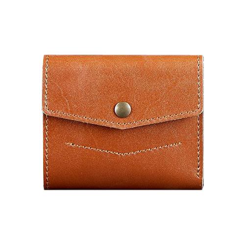 Мини кошелек на кнопке ручной работы коричневый
