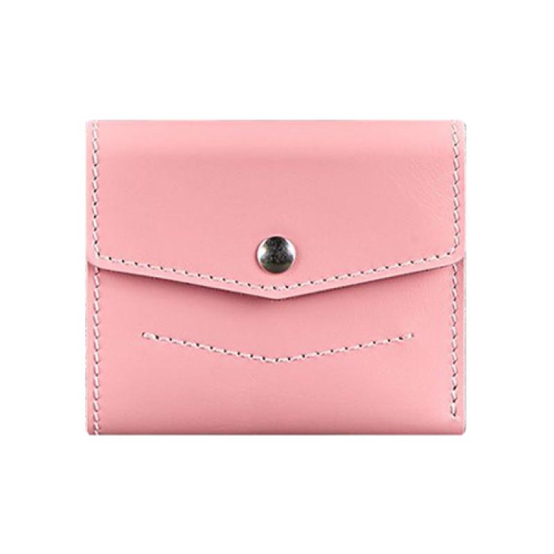 Мини кошелек на кнопке ручной работы розовый
