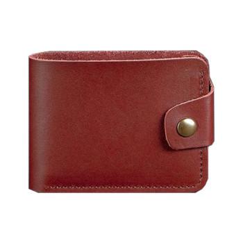 Кожаное портмоне ручной работы на кнопке виноградного цвета class=