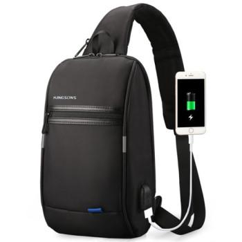 Однолямочный городской рюкзак с USB входом черный class=