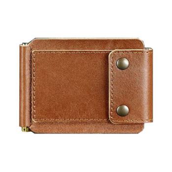 Кожаный зажим для денег ручной работы коричневый class=