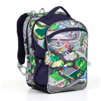 Трехкамерный школьный рюкзак для мальчиков с мотивом города class=