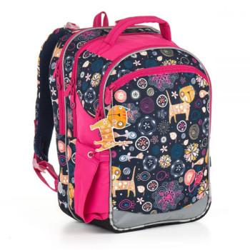 Трехкамерный школьный рюкзак для девочек с мотивом котят class=