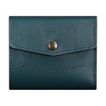 Кожаный кошелек для денег ручной работы цвета малахит class=