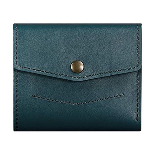 Кожаный кошелек для денег ручной работы цвета малахит