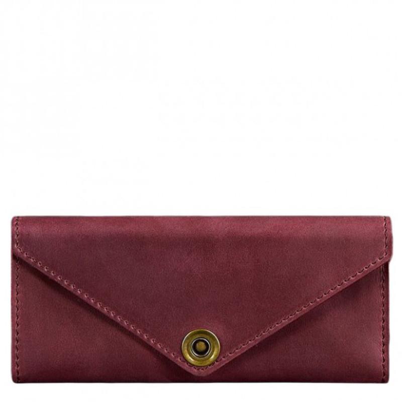Кожаный кошелек ручной работы виноградного цвета