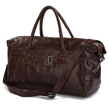 Стильная дорожная сумка Jasper & Maine из натуральной кожи шоколадного class=