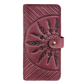 Кожаное портмоне с узором ручной работы виноградного цвета class=