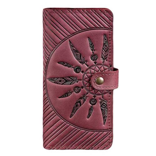 Кожаное портмоне с узором ручной работы виноградного цвета
