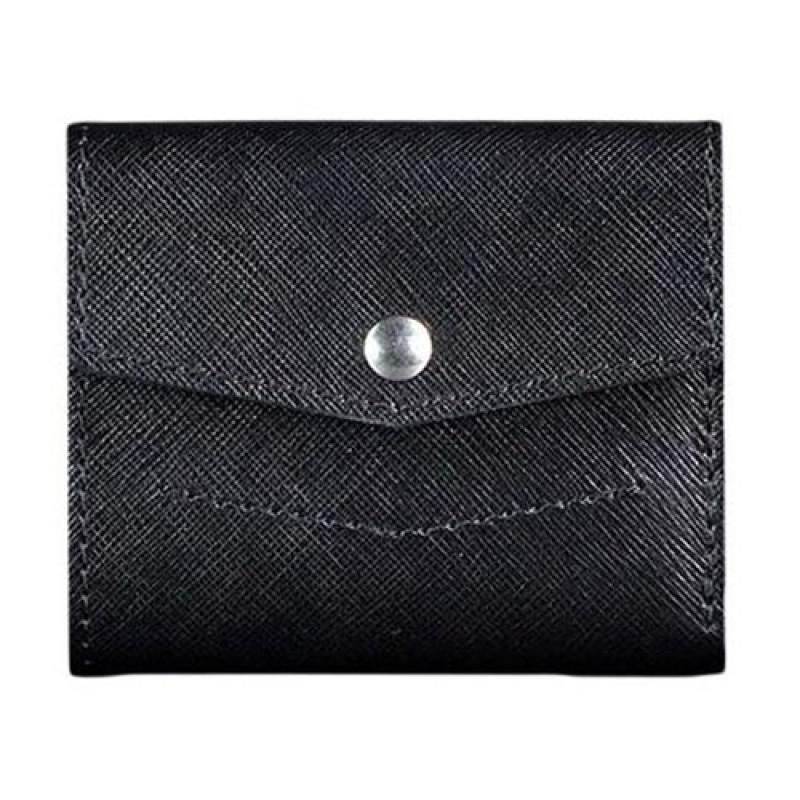 Кожаный кошелек для денег ручной работы черный