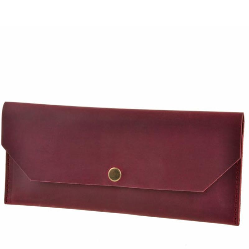 f67424e830f0 Лаконичный бордовый клатч-конверт из натуральной кожи Blank Note Виноград  ...