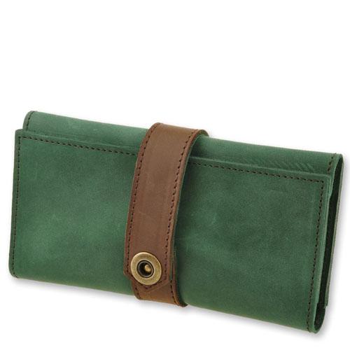 Уникальное кожаное портмоне - клатч Blank Note 3.0 Изумруд-орех