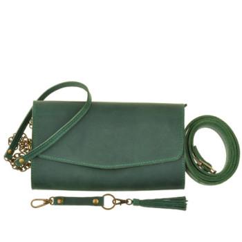 Женская сумка с длинным и коротким ремешком БланкНот Элис Изумруд class=