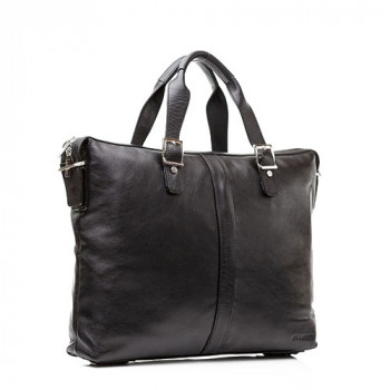 Минималистская мужская сумка Blamont черная кожа class=