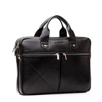 Мужская сумка кожаная под ноутбук Blamont черная class=