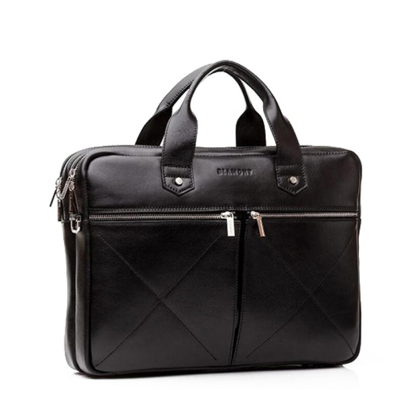 мужская сумка кожаная под ноутбук Blamont черная