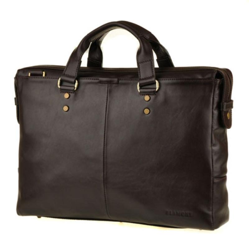 Стильная мужская сумка темно коричневая