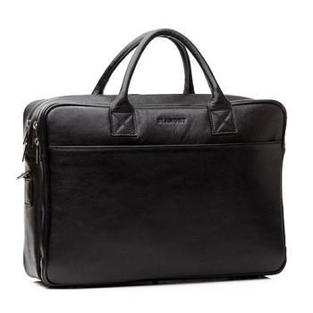 Мужская сумка Blamont из натуральной кожи черного цвета class=