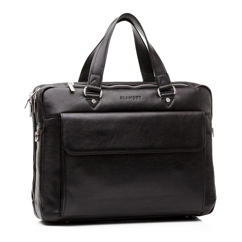 Мужская деловая сумка с большим накладным карманом