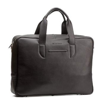 Современная деловая сумка для мужчин Blamont черная кожа class=