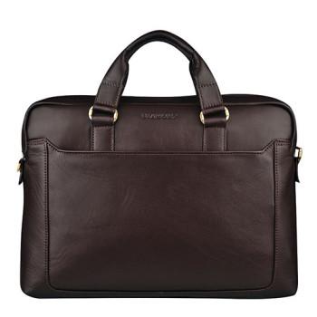 Удобная сумка из натуральной кожи Blamont коричневая class=