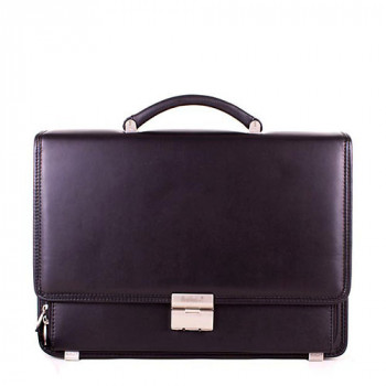 Кожаный деловой портфель для мужчин черного цвета class=