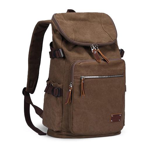 Холщовый ретро рюкзак кофейного цвета 35 литров