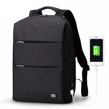 Стильный рюкзак с USB для зарядки смартфона черный class=