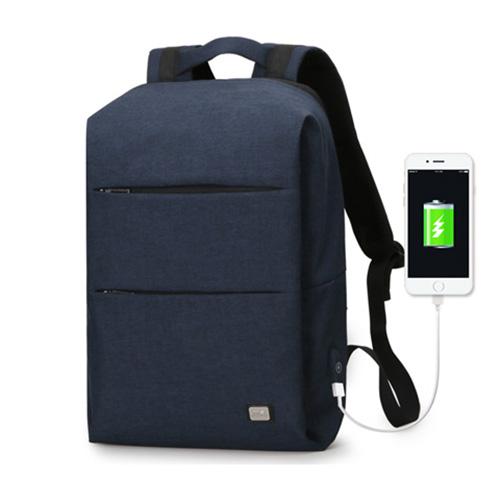 Стильный рюкзак с USB для зарядки смартфона синий