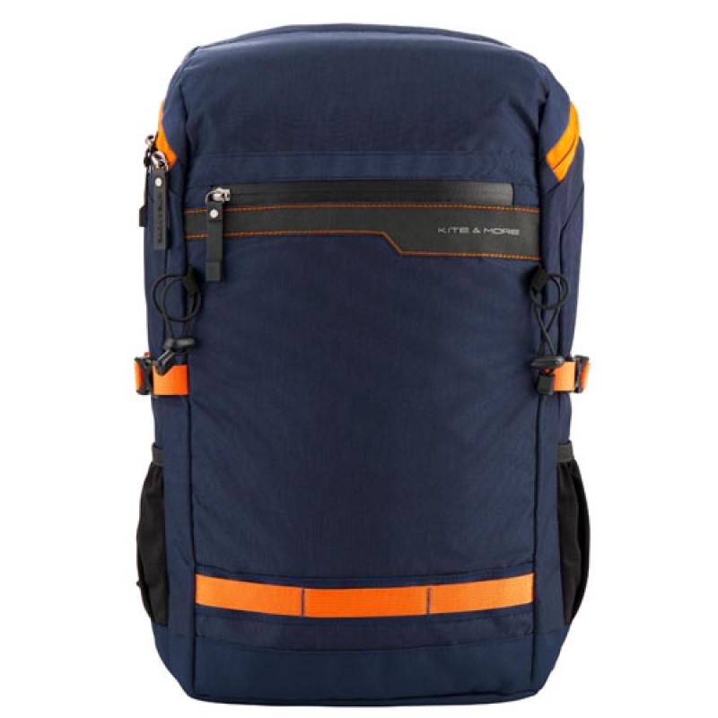 Серый бизнес рюкзак для подростков Kite Kite&More с оранжевыми вставками