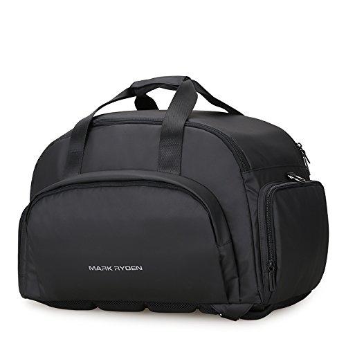 Вместительная виниловая дорожная сумка-рюкзак Maxtravel Black