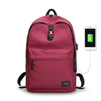 Молодежный рюкзак с USB входом красный class=