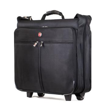 Большой чемодан портплед на колесах для перевозки костюмов черный class=