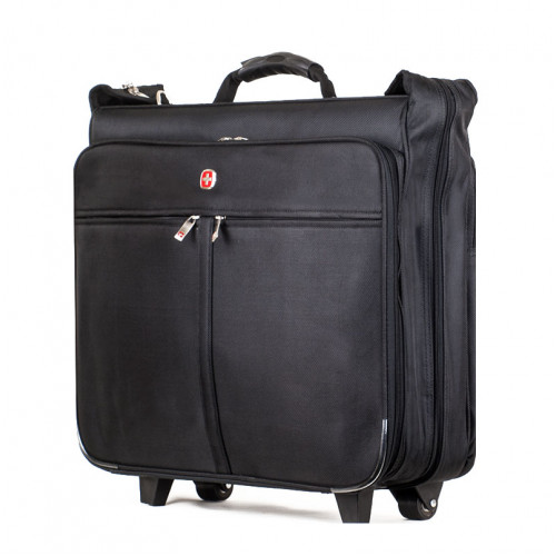 Большой чемодан портплед на колесах для перевозки костюмов черный