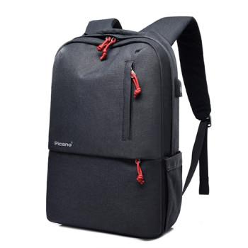 Стильный городской рюкзак черного цвета с выходом USB class=