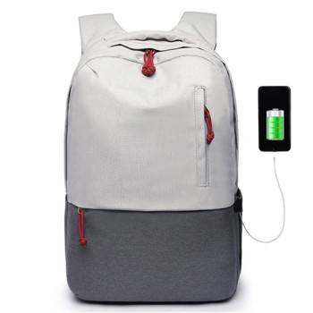 Стильный городской рюкзак белого цвета с выходом USB class=