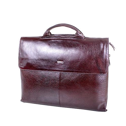 Кожаный мужской портфель коричневый с бордовым оттенком