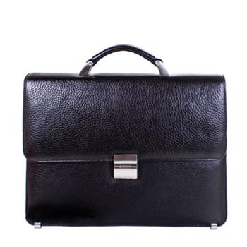 Деловая сумка портфель кожаная черная class=