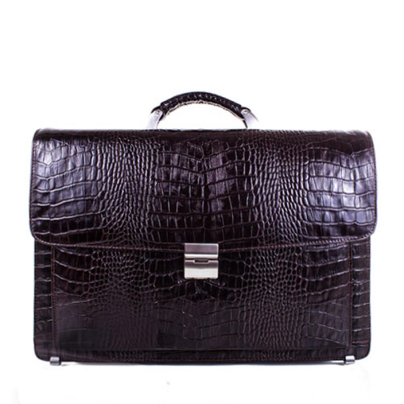 Солидный мужской портфель из кожи коричневого цвета