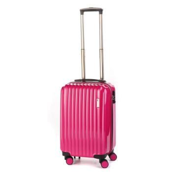 Маленький пластиковый чемодан на четырех колесах розовый class=