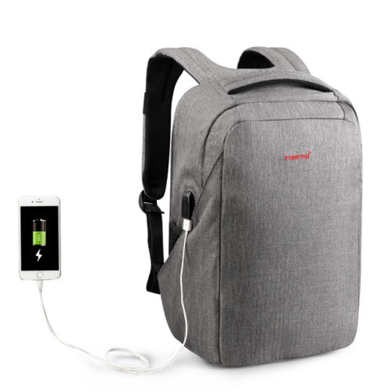 Серый рюкзак с ортопедической спинкой Tigernu для ноутбука с USB выходом