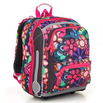 Ортопедический школьный ранец для девочки с изображением цветов class=