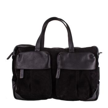 Мужская замшевая сумка черного цвета class=