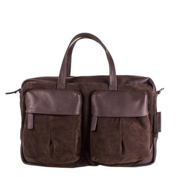 Мужская замшевая сумка коричневого цвета class=